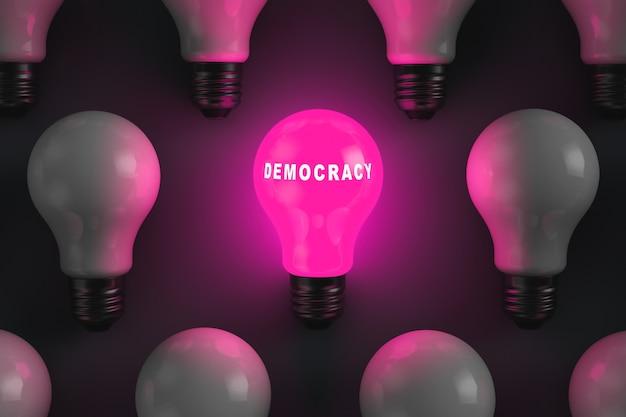 民主主義の碑文を持つ白熱電球。民主主義国家制度。政治的な話題