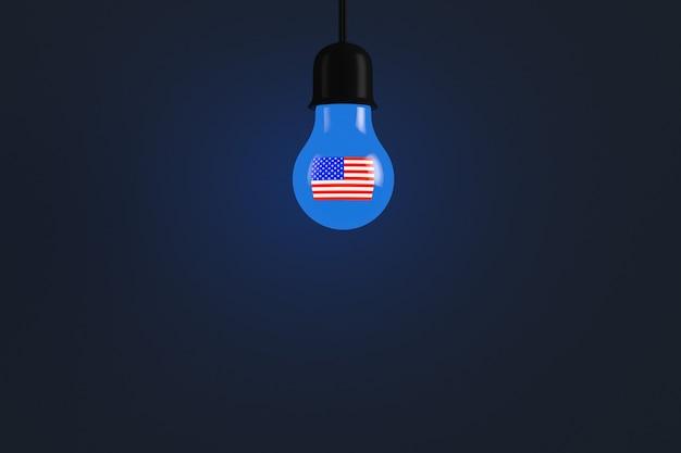 미국의 상징으로 빛나는 전구. 공간을 복사합니다.