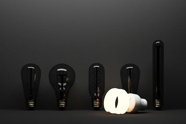 Светодиодная люминесцентная лампа накаливания изолирована на черном бетонном фоне в окружении лампы накаливания - 3d-рендеринг