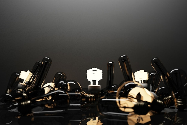백열 램프로 둘러싸인 검은 콘크리트 배경에 고립 된 빛나는 빛 형광 전구 led-3d 렌더링