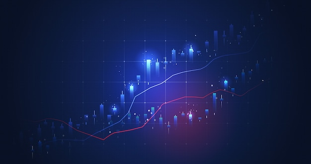 Glowing light market chart of business glowing stock graph or investment financial data profit on growth money diagram background with diagram exchange information. 3d rendering.
