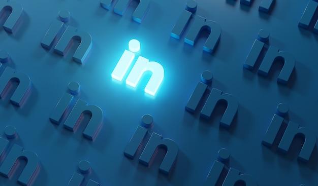 Glowing linkedin logo pattern