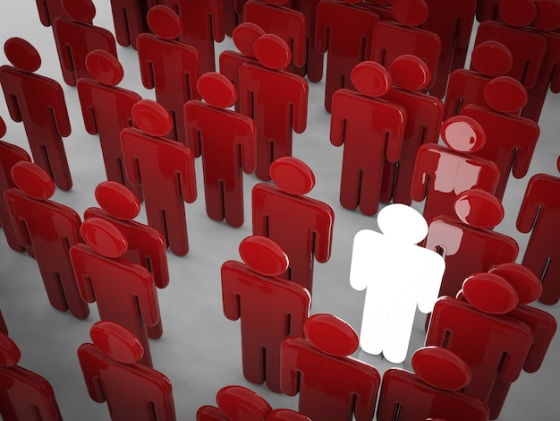 Glowing man among crowd with differentiate concept