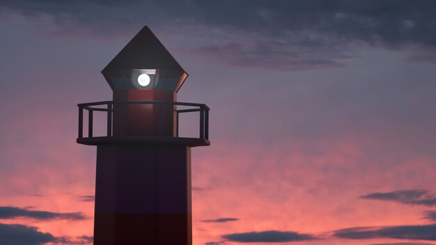 夕焼け空に輝く海の灯台。エピックビュー