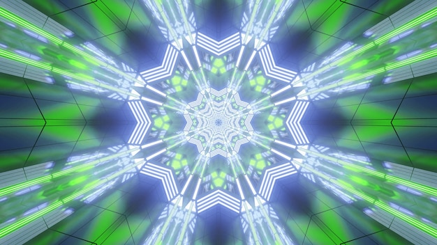 Glowing neon 3d illustration abstract background design with in green and blue tones with geometric flowers shaped kaleidoscopic pattern and visual perspective effect