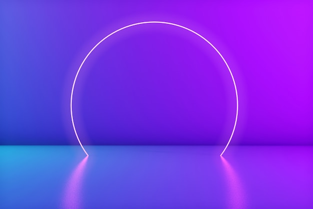 Glowing neon circle in the room. stage for product or text. trendy colors. 3d rendering. copyspace