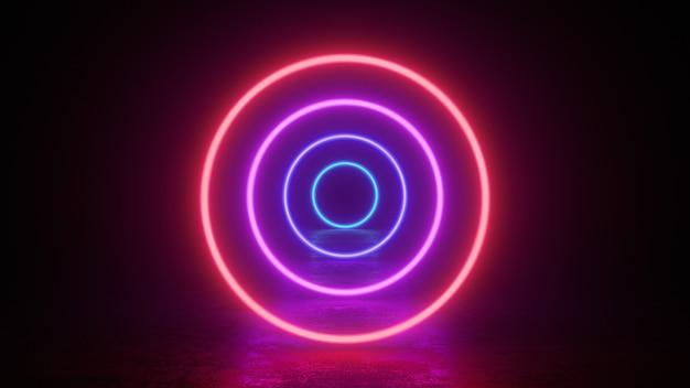 Glowing neon circles rings