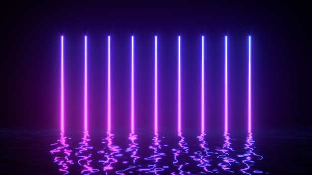 Glowing neon lines with reflections in water surface.