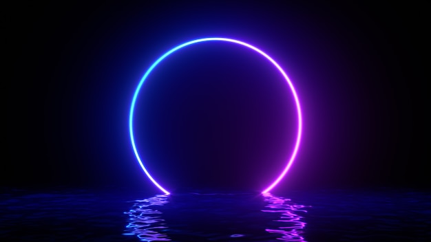 Glowing neon purple circle ring line with reflections on water, lights, waves abstract vintage background, ultraviolet, spectrum vibrant colors, laser show. 3d render illustration