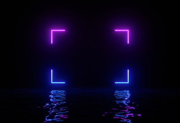 Glowing neon rectangle with reflections in water surface.