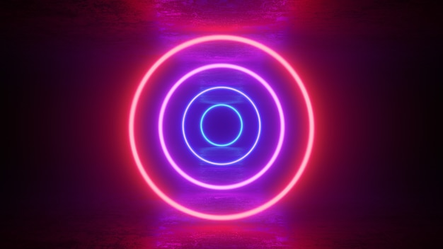 Glowing neon red purple circles rings lines with reflections on ground