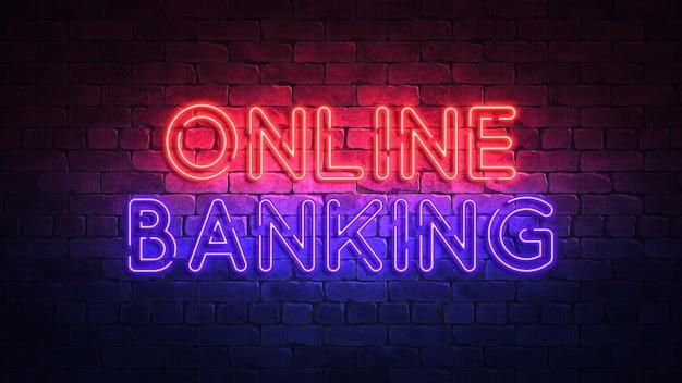 Online bankingという言葉が光るネオンサイン