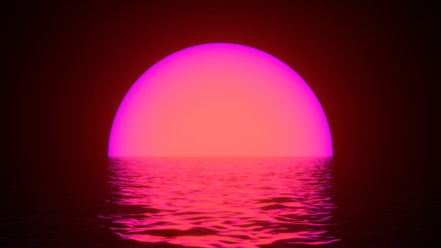 Glowing neon sun with reflections in water surface.
