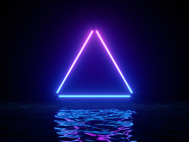 Glowing neon triangle with reflections in water surface.