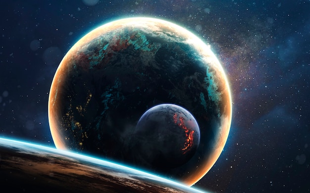 Glowing planet in the dark and cold cosmos. deep space image, science fiction fantasy in high resolution ideal for wallpaper and print. elements of this image furnished by nasa