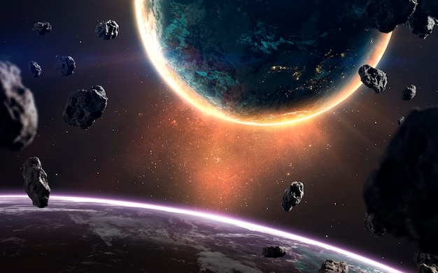 Glowing planet. deep space image, science fiction fantasy in high resolution ideal for wallpaper and print. elements of this image furnished by nasa