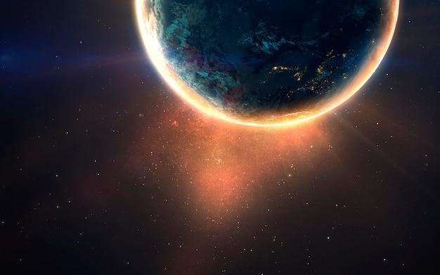 Светящаяся планета. изображение глубокого космоса, фантастическая фантастика в высоком разрешении идеально подходит для обоев и печати. элементы этого изображения, предоставленные наса
