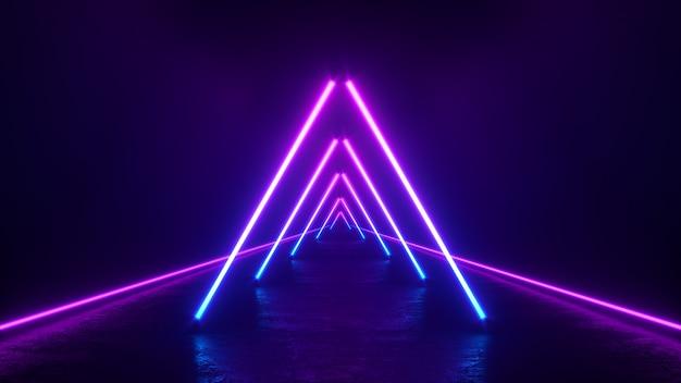Glowing purple neon triangle lines