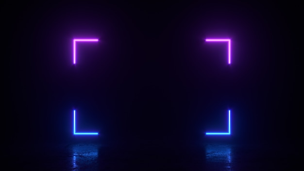 Glowing rectangle square lines