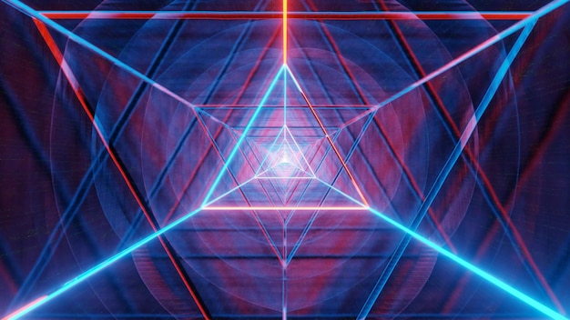 Glowing red and blue triangle neon wireframe
