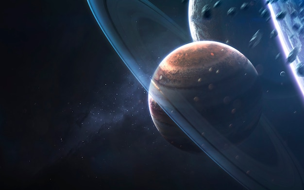 Glowing rings of gas giant, awesome science fiction wallpaper, cosmic landscape.