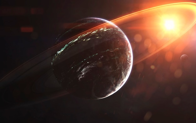 Светящиеся кольца газового гиганта, фантастические обои, космический пейзаж. элементы этого изображения, предоставленные наса