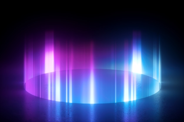 Glowing round shape on the floor. pink blue vertical rays
