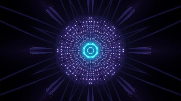 暗闇の中で光の反射と輝く丸い形の青と紫のネオンの背景