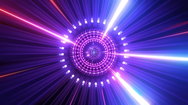 Glowing science fiction particles rotation sci-fi tunnel 3d background