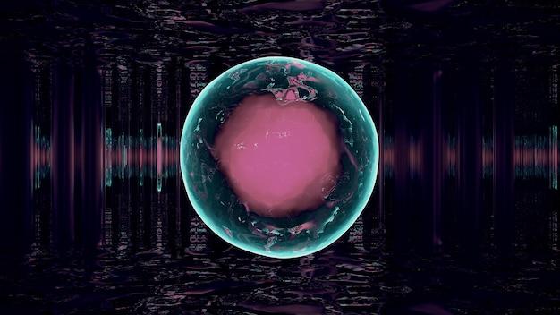 Glowing sphere in dark corridor 4k uhd 3d illustration