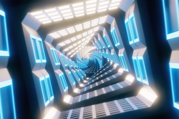 빛나는 회전 네온 사각형 터널 만들기