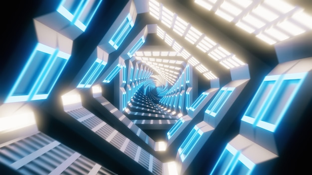 Glowing spinning neon squares creating a tunnel
