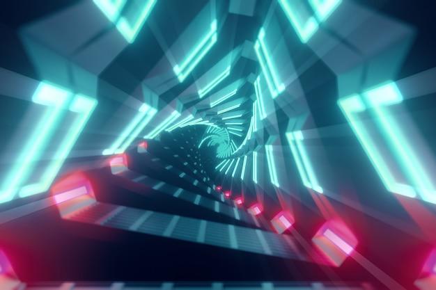 Светящиеся вращающиеся неоновые треугольники, создающие туннель