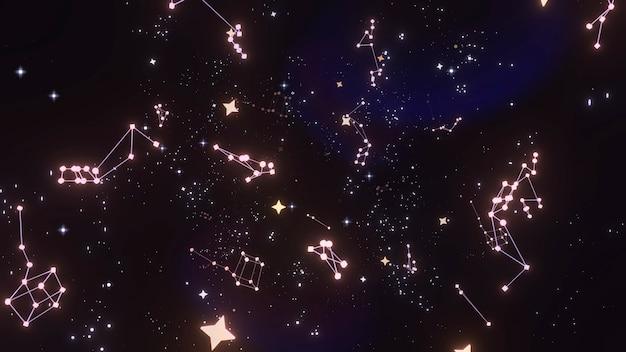 輝く星と星座の3dレンダリング画像
