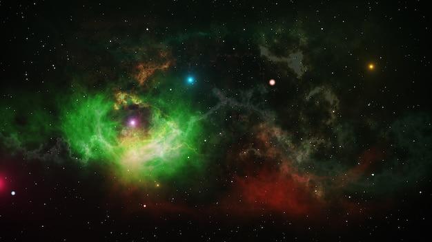 열린 공간에서 빛나는 별과 성운
