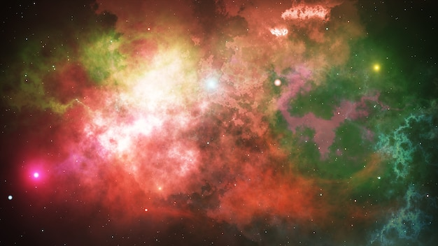 Светящиеся звезды и туманности в открытом космосе