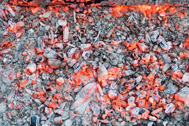 Светящиеся красные угли в огне.