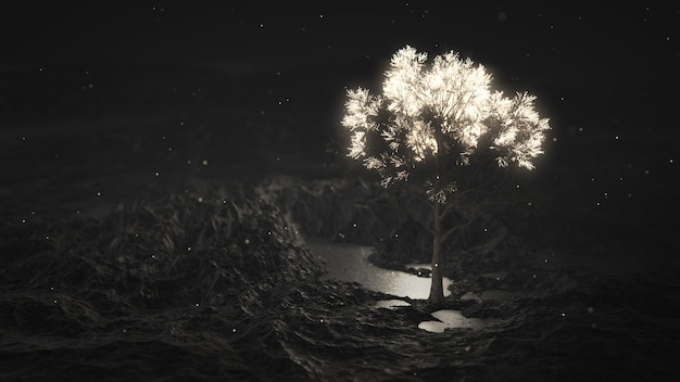 山の中で輝く木