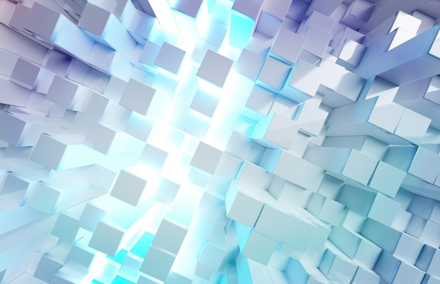 Glowing white and blue squares background pattern
