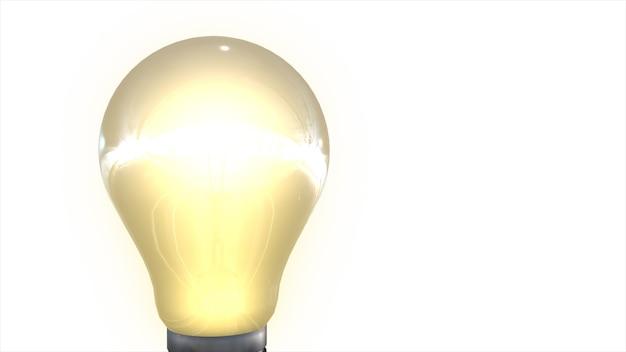 インスピレーションコンセプト3 dイラストとして輝く黄色の電球