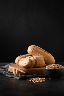 Gluten free buckwheat bread or buns on black