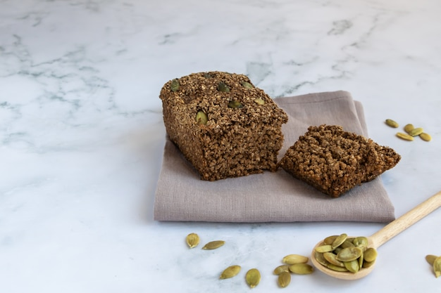 Gluten-free cereal bread with pumpkin seeds.