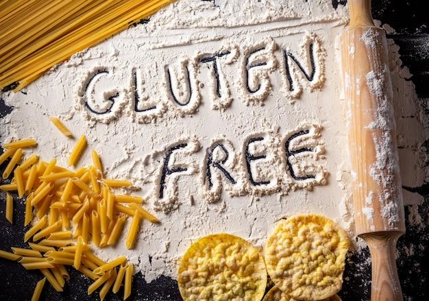グルテンフリーの食材、小麦粉はグルテンフリーのテキストが描かれています