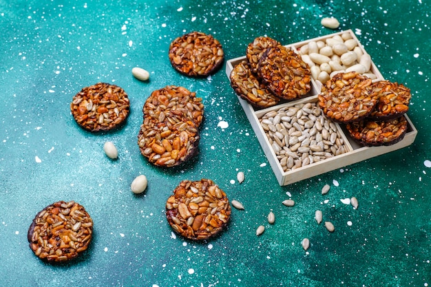 Gluten free nut candied cookies with chocolate,peanut and sunflower seeds,top view