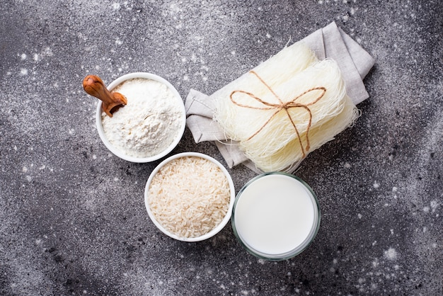 Gluten free rice flour, noodle and non-dairy milk