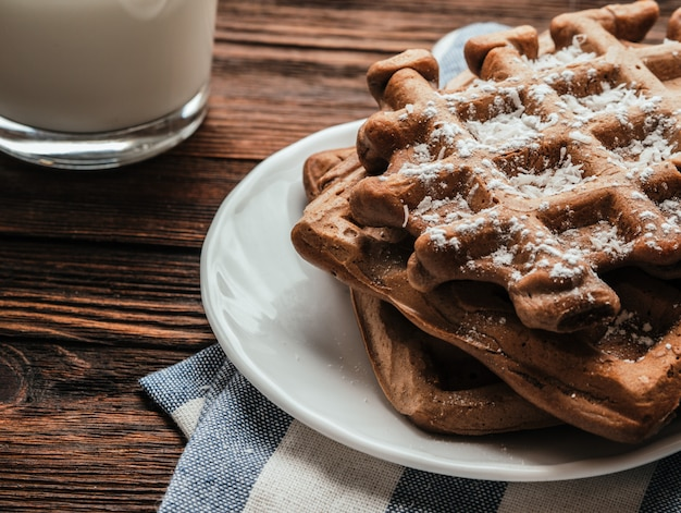 Gluten free waffles with  coconut chips