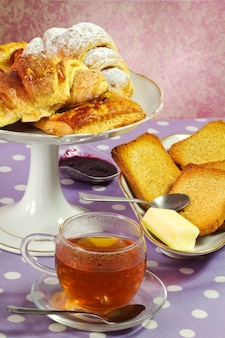 Gluttony breakfast with tea cup