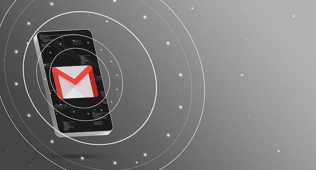 기술 디스플레이가있는 휴대 전화의 gmail 로고, 스마트 3d 렌더링