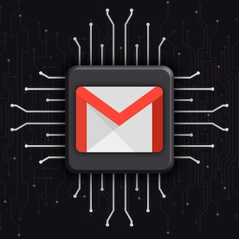 Gmail logo on realistic cpu technology background 3d