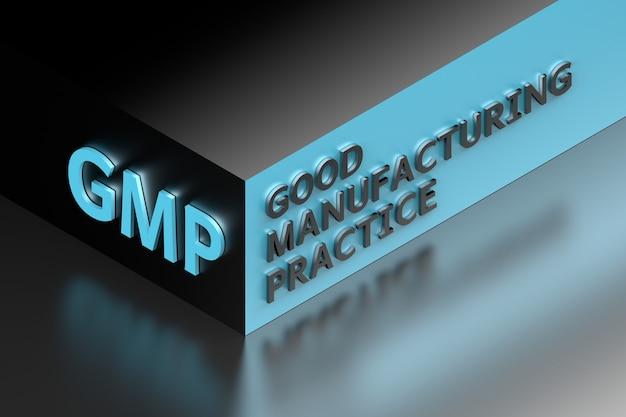 等尺性の立方体の形に濃い金属の文字で書かれた適正製造基準を表すgmpの略語。 3dイラスト。